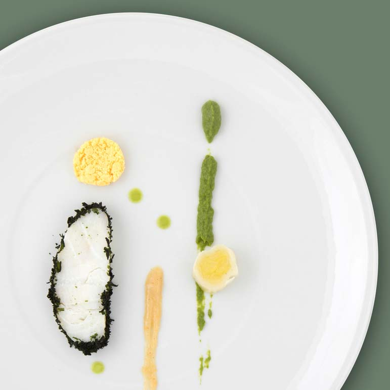 Cod with seaweed, leek mimosa in a basil and lemon vinaigrette