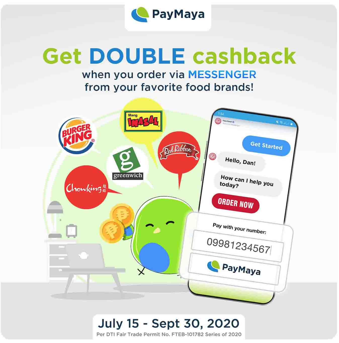 PayMaya and Jollibee Foods Corporation double up your rewards when you order your favorite meals via Facebook Messenger
